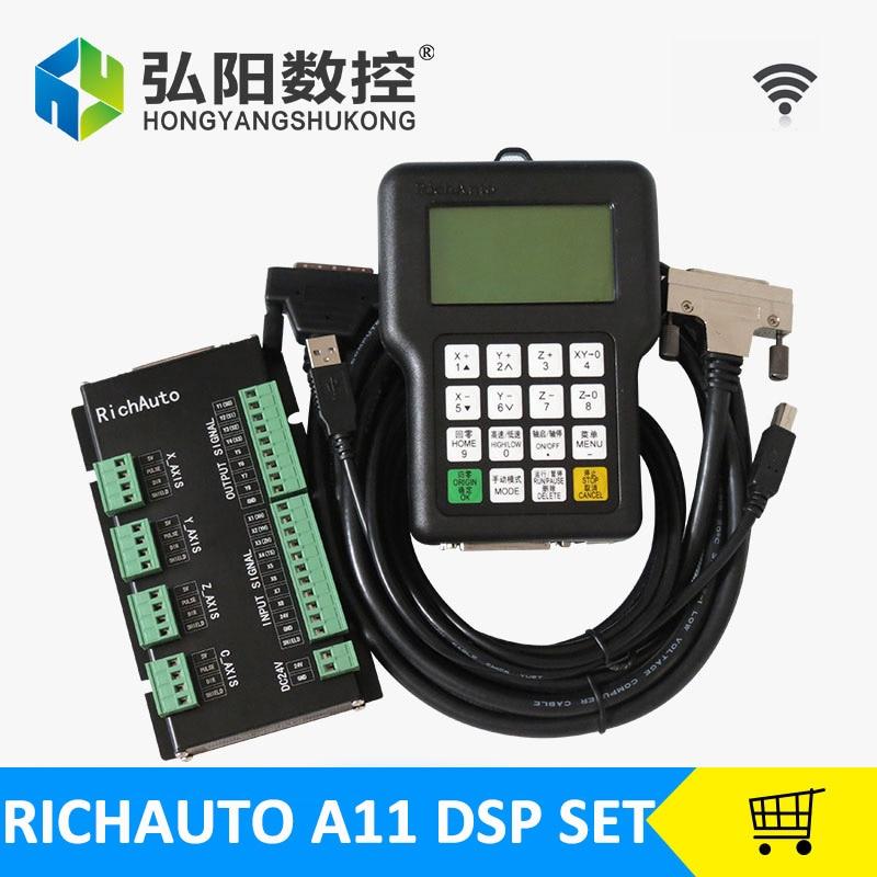 RichAuto DSP controlador CNC A11S A11 HYCNC A11E 3 remoto Controlador de eixo Para CNC Router Controlador DSP