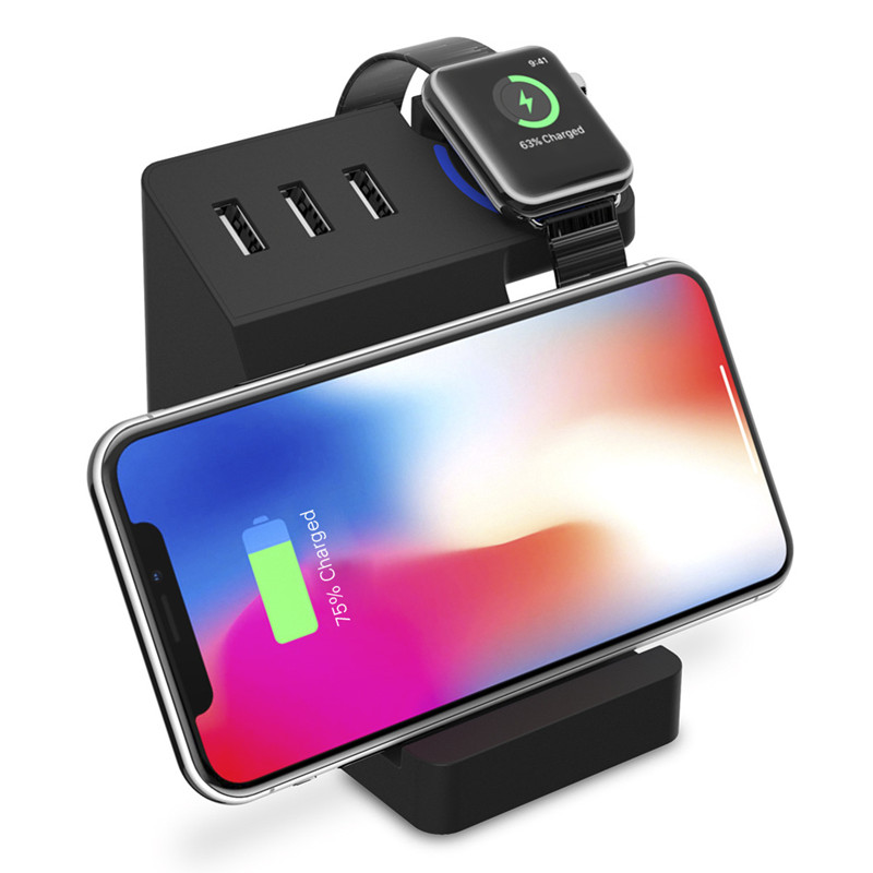 High Quality Bakeey 3 USB Ports Qi Wireless Charging Desktop Holder Stand for Mobile Phone for Tablet forApple Watch