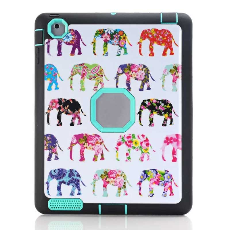 For Apple Pad 234 Outer TPU+Inner PC Hybrid Combo Tablet Protective Cover with IMD Elephant Design