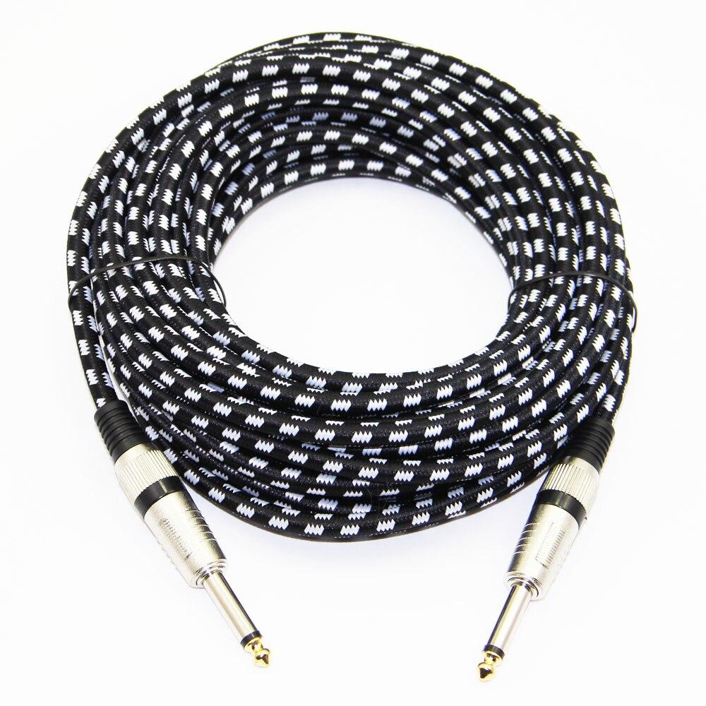 Tissu Tressé 1/4 ''Jack 6.35mm à 6.35mm Câble Audio Mâle à Mâle Pour Amplificateur Guitare Électrique Mélangeur 3 m 6 m 10 m