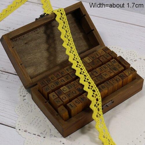 Zakka Стиль хлопковая кружевная лента швейная лента, бежевая Кружевная Сетка, крутая кружевная тесьма(17 мм x 50 ярдов - Цвет: Yellow