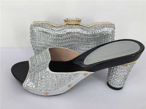 ФОТО African Women shoe and bag to match set for party Italian women's shoe and bag set new design shoe and bag set TH31 Sliver Color