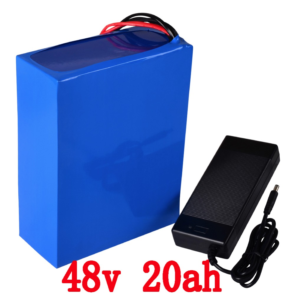 Free customs duty 48V 2000W Electric Bike battery 48V 20AH battery built ni 50A BMS and 54.6V 2A charger Free Shipping