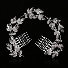 Popular flower leaves luxurious bride long head ornament alloy full drill Comb Wedding silver plated hair accessories