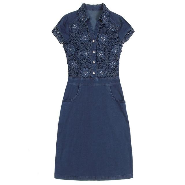 Nordic Winds Womens Jeans Dresses 2017 Summer Beautiful Mini Lace Dress New Turn Down Collar Women Blue Jean Dress Plus Size 4XL