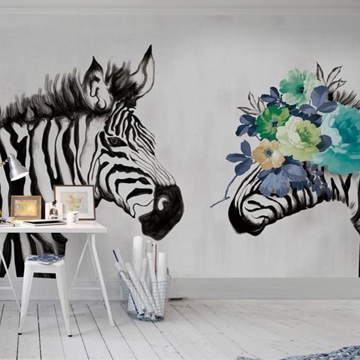 3d zebra kleur wit zebra muurschildering woonkamer slaapkamer TV ...