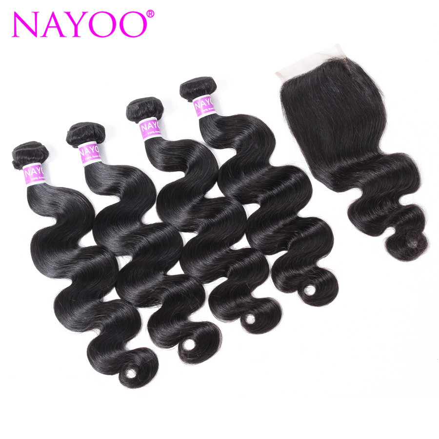 NAYOO Natural Color Indian Hair Body Wave 4 Bundles With Closure Remy Human Hair Extensions Indian Body Wave And Lace Closure