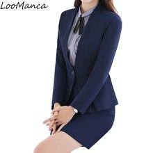 Профессиональный осенне-зимние женские костюмы с юбкой комплект элегантные Бизнес Формальные Длинные рукава блейзер офисные женские большие размеры Рабочая одежда