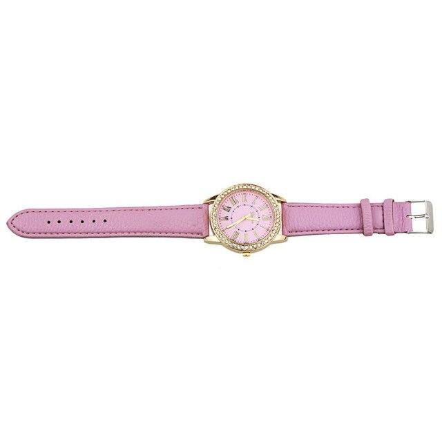 2018 New Quartz Watch Women Roman Numerals Dial Wristwatch Women's Leather Rhinestone Bracelet Watches Relojes Mujer Wholesale