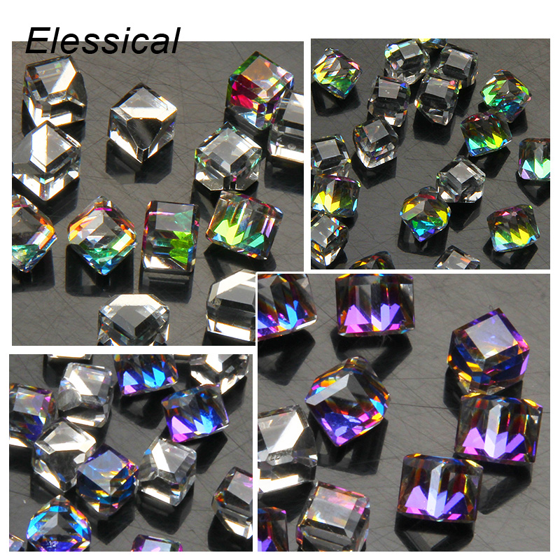 ELESSICAL Fantasy 3D Glass Crystal Nail Charms Rhinestones For Nails Geometric Cube Square DIY Nails Art Decorations WY890-WY893 wakefulness ab color glass rhinestones crystal mix caviar nail art mini beads sharp bottom gemstones charms 3d nail decorations