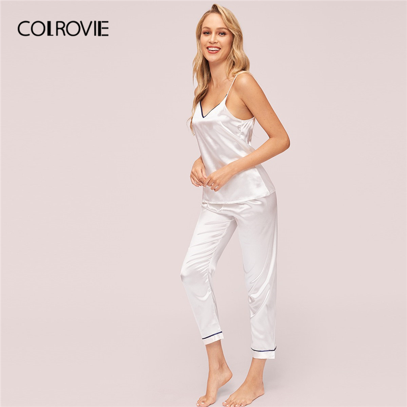 COLROVIE White V Neck Contrast Binding Satin Cami Top With Pant   Pajama     Set   Women 2019 Summer Sleeveless Elegant Ladies Nightwear