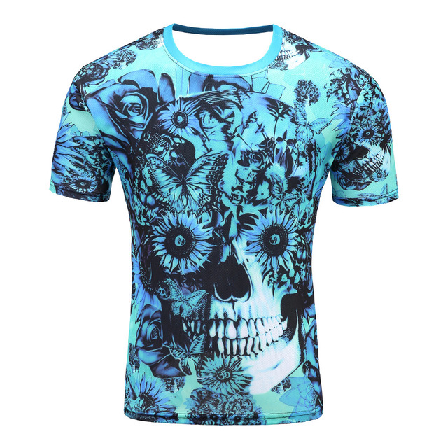 ea5c1b2c3858 2018 Mens Fashion flower skeleton 3D Printed T shirt Casual Short Sleeve O  neck T shirt Men Tee Shirts plus size-in T-Shirts from Men s Clothing on ...