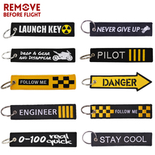 REMOVE BEFORE FLIGHT Novelty Embroidery Keychain Launch Key Ring Bijoux Chain for Motorcycles and Cars Tag New Fobs