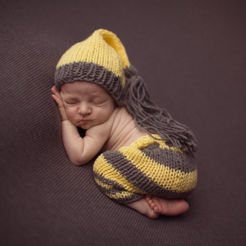 Babykleidung Jungen AnpassungsfäHig Neugeborenen Fotografie Prop Taste Baby Foto Schießen Outfit Häkeln Holz Buttoncrochet Stricken Kostüm Set Mützen Und Hosen Fr024