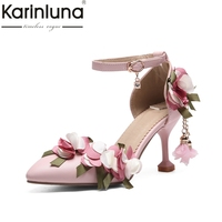 KarinLuna 2018 Summer Big Size 33 46 Sweet Flowers Princess Sandals High Heels Party Prom Wedding Shoes Woman