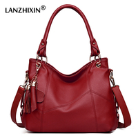 Lanzhixin Women Handbag Leather Bags For Women Shoulder Bags Tassel Cowhide Bolsa Feminina Women Black Tote