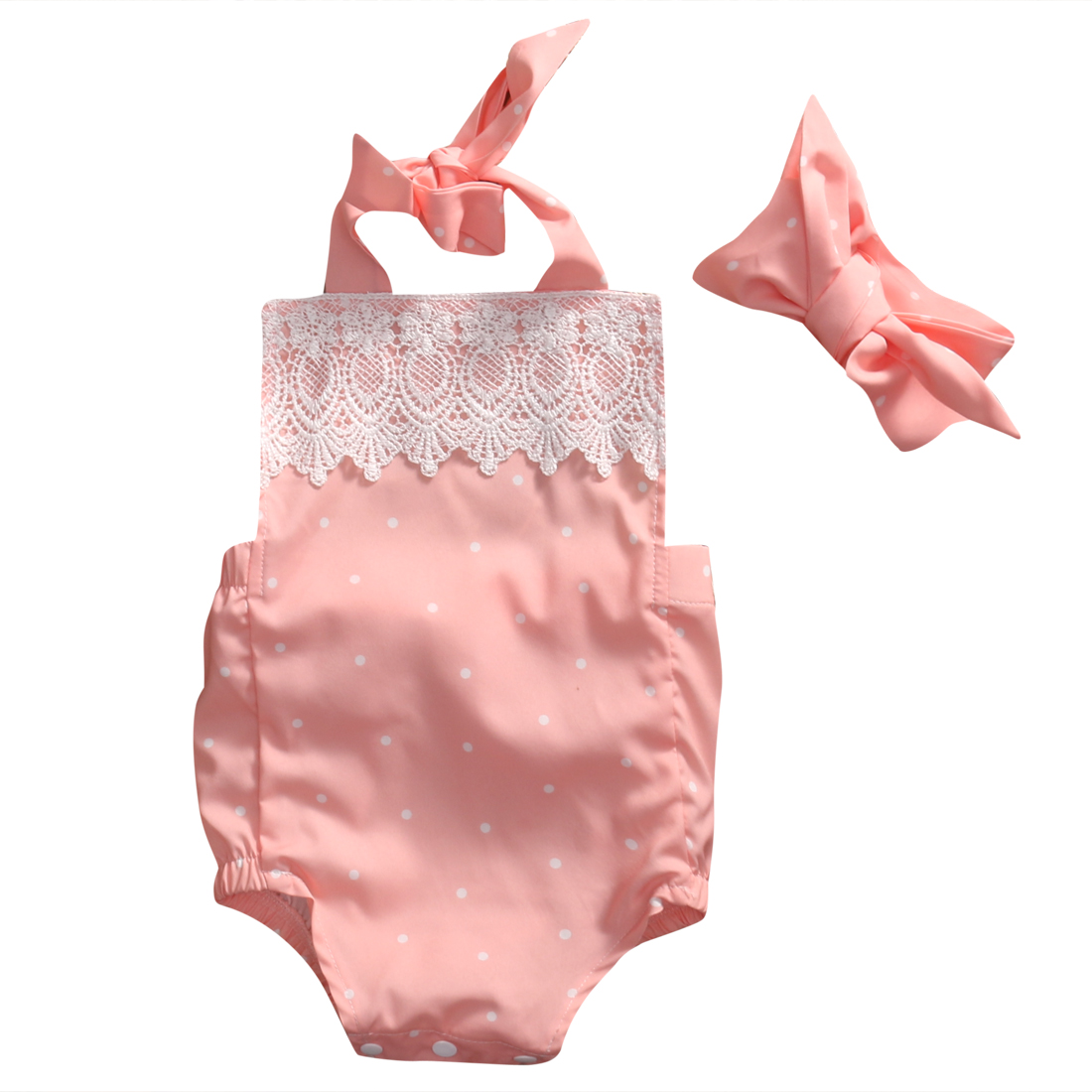 Cute Newborn Baby Girl Romper 2017 Summer Pink Infant Bebes Lace Floral Cotton Halter Romper Handband 2pcs Sweety Baby Clothes 3pcs set newborn infant baby boy girl clothes 2017 summer short sleeve leopard floral romper bodysuit headband shoes outfits