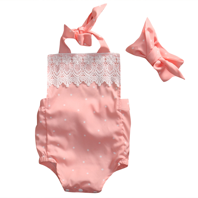 4366df5d63f Cute Newborn Baby Girl Romper 2017 Summer Pink Infant Bebes Lace Floral  Cotton Halter Romper Handband 2pcs Sweety Baby Clothes