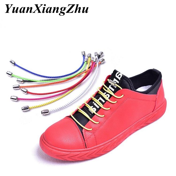 1Pair No Tie Shoelaces Elastic Reflective Shoe Laces Kids Adult Sneakers Quick Shoelace Black Locking Round Shoe Laces Girl
