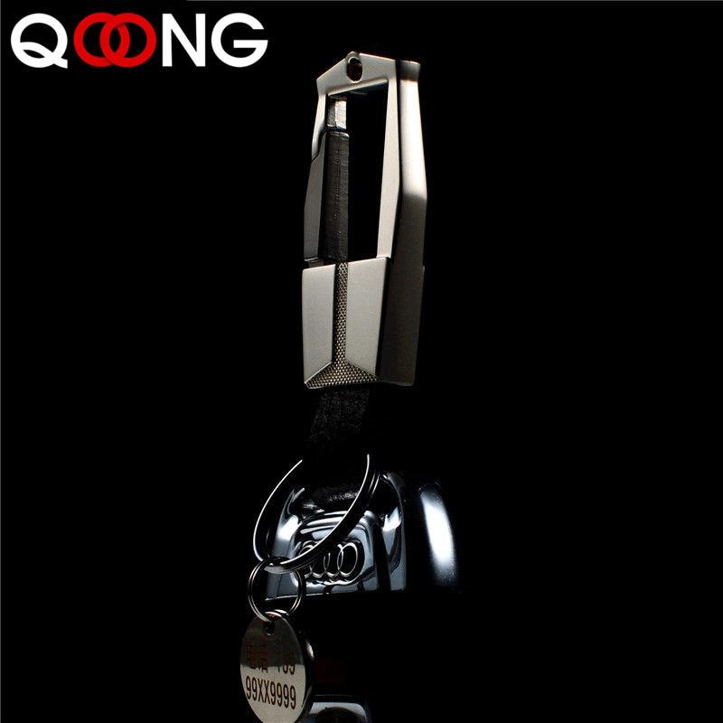QOONG Fashion Men Keychain Car Keyring Genuine Leather Key Chain Key Ring Metal Auto Key Holder For Men Custom Lettering Y07