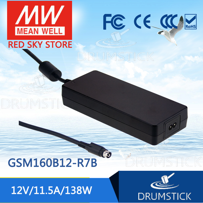 MEAN WELL GSM160B12-R7B 12V 11.5A meanwell GSM160B 12V 138W AC-DC High Reliability Medical Adaptor genuine mean well gsm60b12 p1j 12v 5a meanwell gsm60b 12v 60w ac dc high reliability medical adaptor