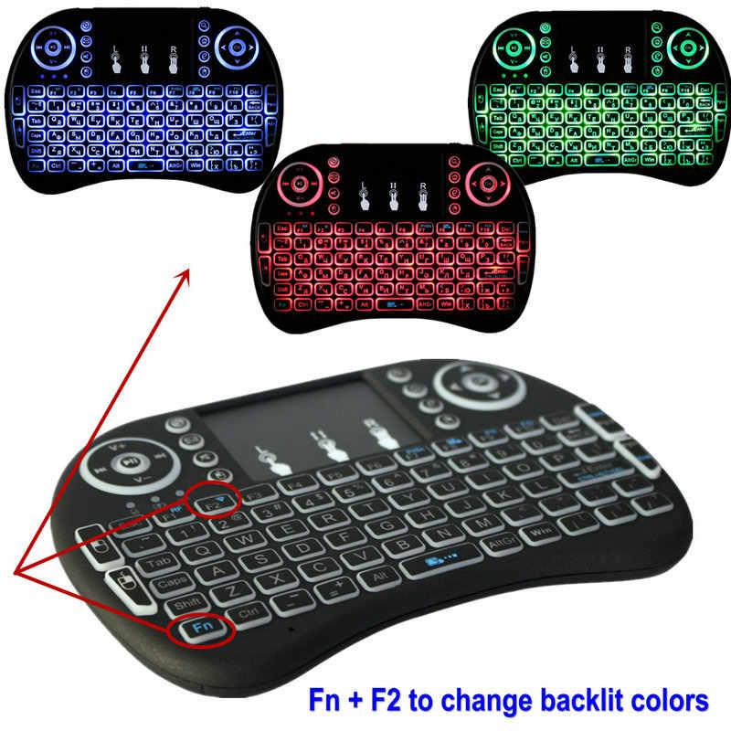 Oplaadbare i8 Backlight Russisch EN Spaans Arabisch Mini toetsenbord touchpad air mouse voor Android Smart TV Box PC afstandsbediening