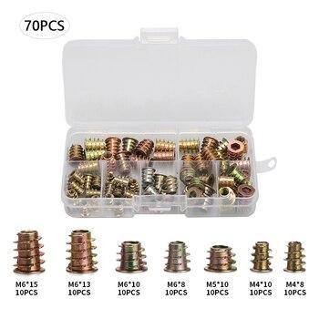 70Pcs M4/M5/M6 Zink-legierung Gewinde Für Holz Insert Mutter Flansch Hex Stick Kopf 7 größe möbel Muttern Sortiment Kit