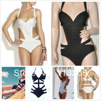 2014 New High Quality White Bandage One Pieces Swimwear Sexy Women Black One Piece HL Swimsuit