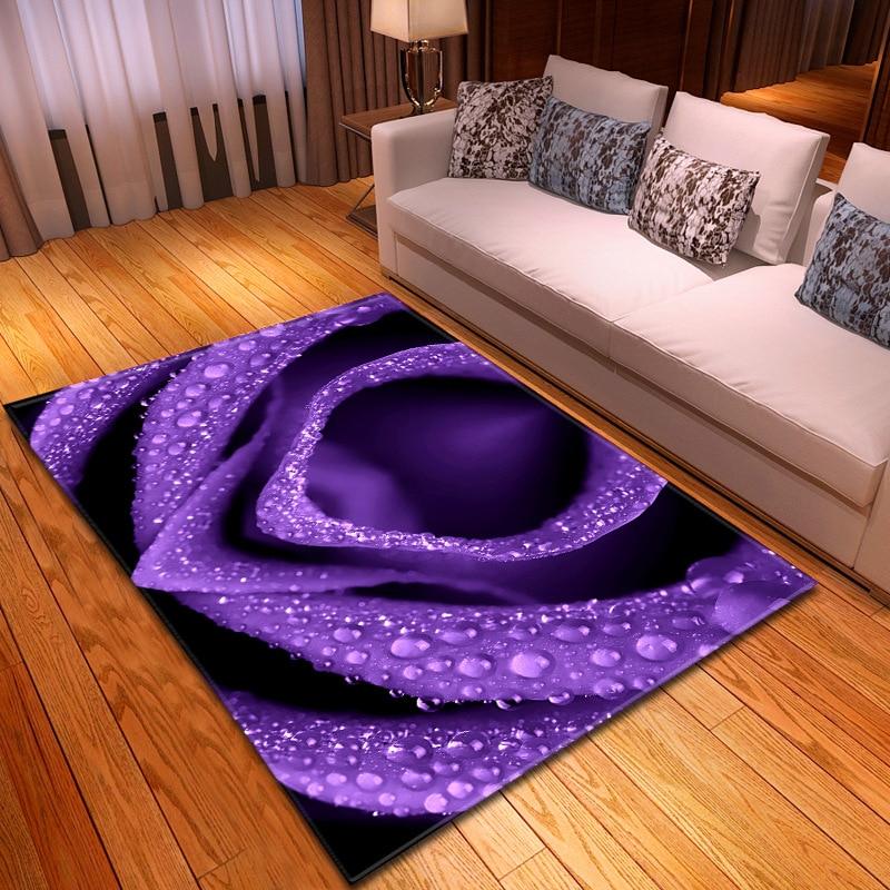 Rose flower printed 3D Carpet Large Size wedding Living Room Bedroom Tea Table Rug and Carpet Rectangular Antiskid Floor Mat|Carpet| |  - title=