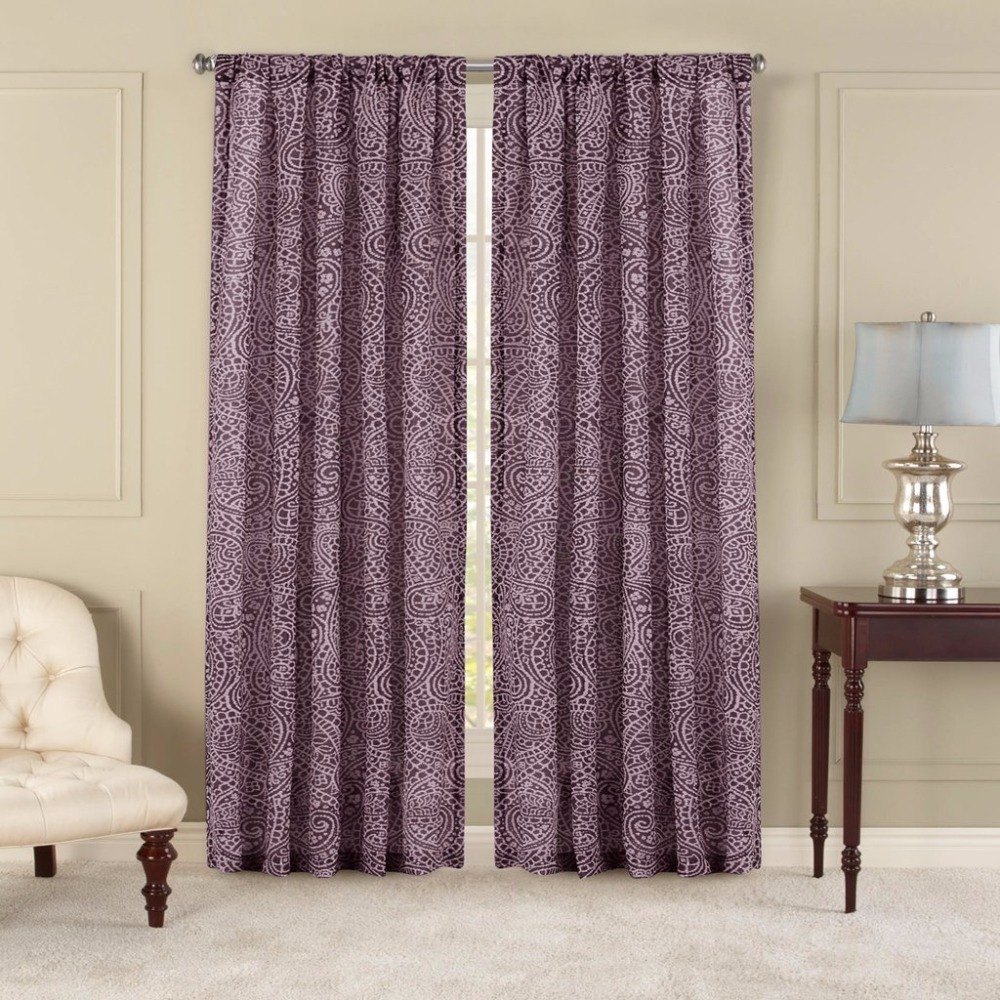 Voile curtain panel brown cheap green curtain voile uk delivery - Nicetown Paisley Pattern Faux Linen Sheer Voile Curtain Panels One Pair W50 X L84