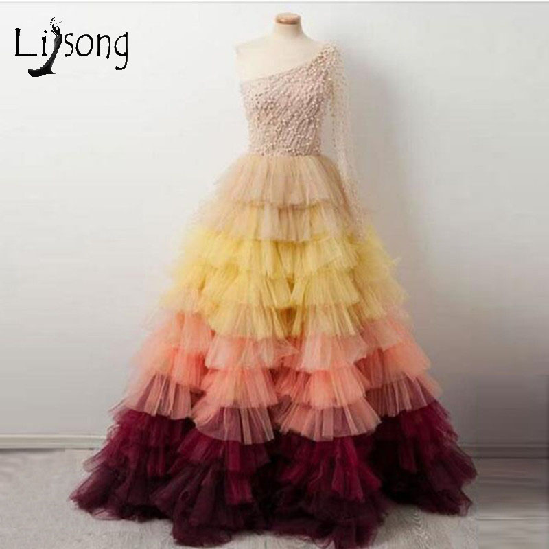Abiye Colorful Tulle   Prom     Dresses   2019 Luxury Pearls Puffy Ball Gowns Long Evening Gowns One Shouler Vestido De Festa Longo