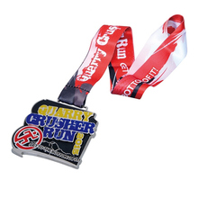 run medals cheap custom Zinc Alloy Bottle Metal Medal with Printed Ribbon for Sports