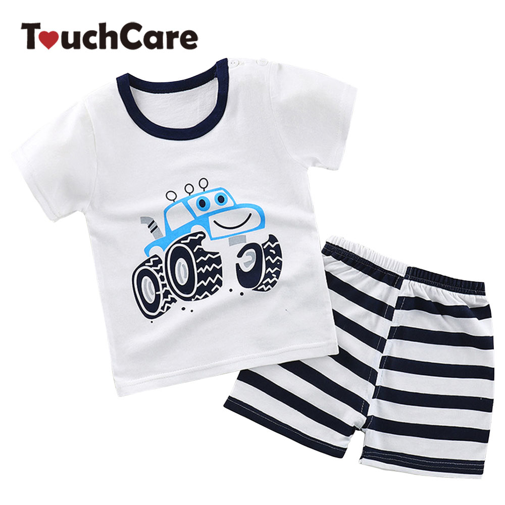 Boys T-shit+Pants Clothing Set Children Summer Pineapple Clothes Cartoon Car Kids Tops Shorts Suit Baby Cotton Striped Outfit summer baby boys clothing set cotton animal print t shirt striped shorts sports suit children girls cartoon clothes kids outfit