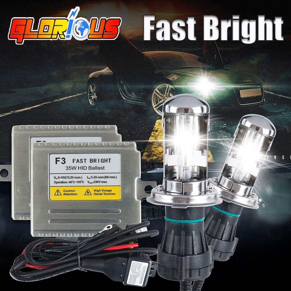 H4 Xenon Light High Low Fast Bright 35w F3 3 Hid Kit A320 Wiring Harness 4300k 6000k 8000k Bi