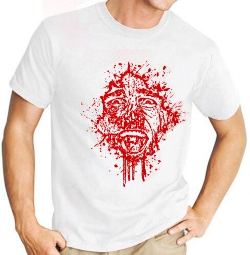 2018 Streetwear Short Sleeve TeesAmerican Psycho (Christian Bale - Film) Mens White T Shirt (Red Print)Summer Style T shirt