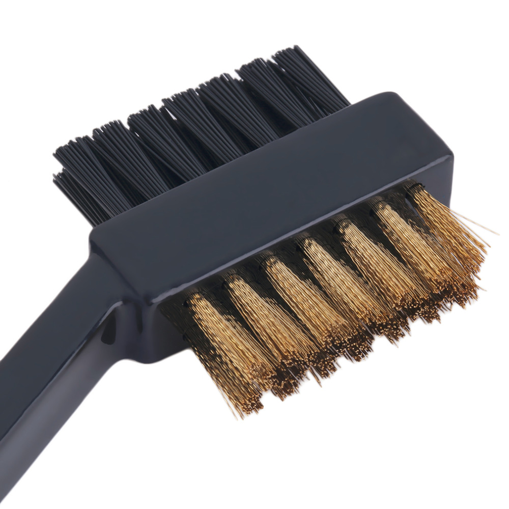 New 2 Sided Dual Bristles Brass Wires Golf Club Brush Groove Cleaner Kit Tool Black Useful Free Shipping