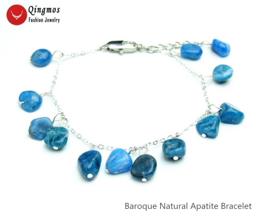 e8d812d215e3 Pulsera de piedra de apatita Natural a la moda Qingmos para mujer con  colgante de pulsera barroca ...