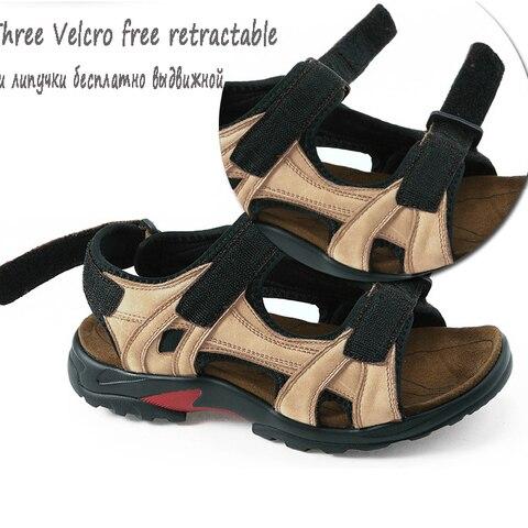 Brand Casual Men Genuine Leather Soft Sandals Comfortable Beach Shoes High-Quality Men Roman Summer Men Sandals large size 48 Karachi