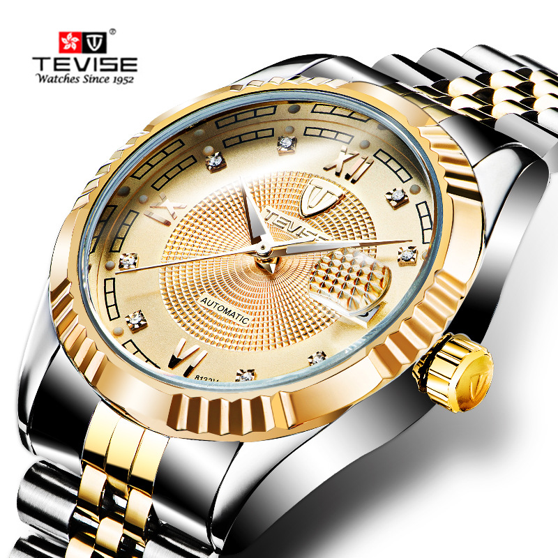 TEVISE Luxury Automatic Mechanical Watches Men Self Wind Stainless Steel and Leather Band Luminous Auto Date Wristwatches 629 tevise men automatic self wind gola stainless steel watches luxury 12 symbolic animals dial mechanical date wristwatches9055g
