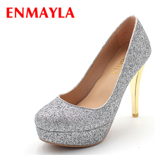 ENMAYLA Thin Heel Platform Pumps Women High Heels Shoes Woman Silver Gold Glitter Pumps Sequined Party Wedding Shoes enmayla sexy thin high heels 14cm pumps round toe women shoes glitter platform pumps ankle strappy party shoes black red blue