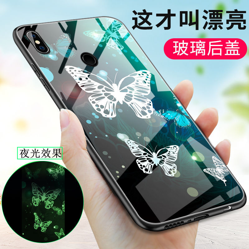 Phone Case For <font><b>Xiaomi</b></font> <font><b>Redmi</b></font> Note <font><b>7</b></font> Pro Note 5 Plus Case <font><b>Cover</b></font> Luminous Glow Tempered Glass <font><b>Back</b></font> <font><b>Cover</b></font> Silicone Bag Fundas image
