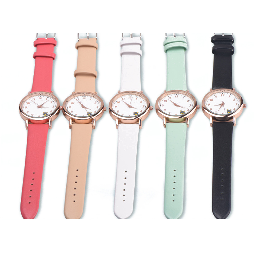 Casual Ladies Watches Quartz Wristwatch Fashion Cartoon Cat Leather Quartz Analog Women Watch 6