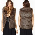 New Fashion Winter Women Vintage Style Oversized Fur Vest Coat Lapel Sleeveless Vest Jacket Ladies Leather Coat Waistcoat