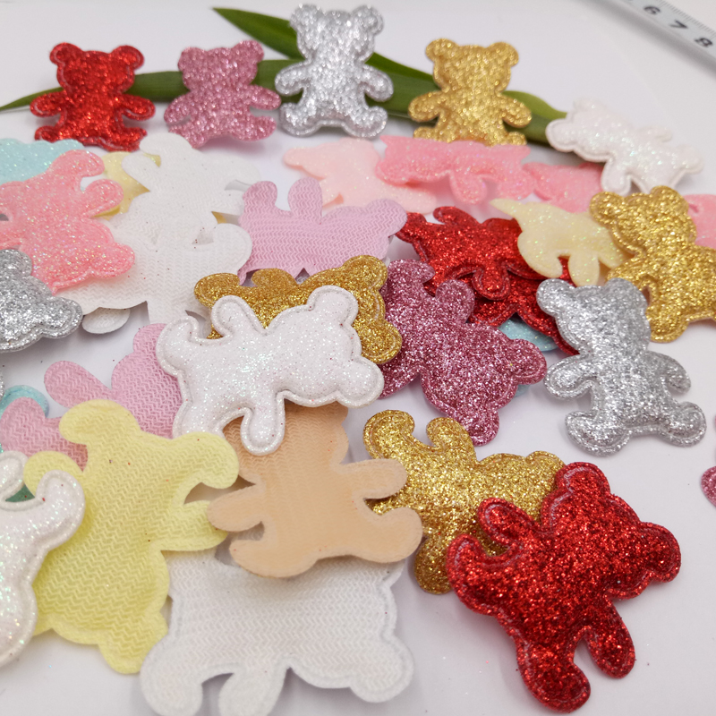 sew on Glitter felt patches for clothes 2.8x3.3cm Padded Applique bear shape 100pcs scrapbooking accessories