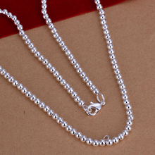 2015 Women jewelry 925 sterling silver necklaces Fashion fine jewelry 4mm solid ball beads charm chains  DIY charms necklace