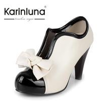 Roztomilé dámské boty na podpatku s mašličkou, velikost 34-43
