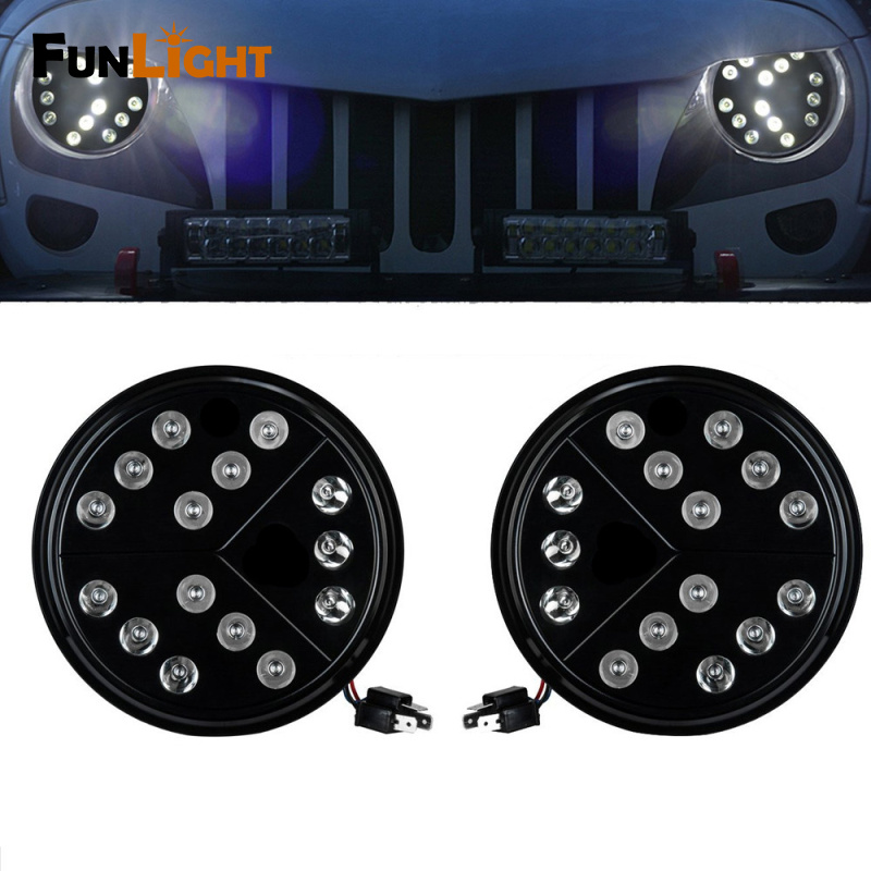 1 Pair Black 7inch Arrow Style Round Hi/Lo Beam LED Headlights For Jeep Wrangler TJ JK Unlimited 97+