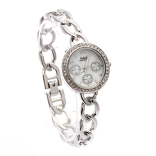 лучшая цена XG48 G&D Women Watch Silver Stainless Steel Band Rhinestone Luxury Bracelet Watch Women's White Dial Quartz Analog Wrist Watches