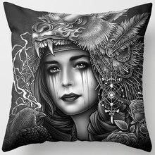 Hot sale many styles  white black funny pattern women men Pillow case boys girls weeping willow size 45*45cm