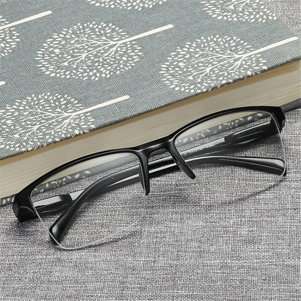 HTB1ZZ.0KNjaK1RjSZKzq6xVwXXaK - iboode Half Frame Reading Glasses Presbyopic Eyewear Male Female Far sight Glasses Ultra Light Black with strength +75 to +400